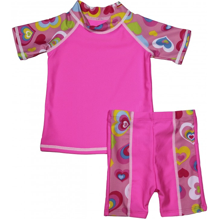 Baby Girl Rash Guard Pink Lovebug Swimwear Set