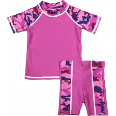 Baby Girl Rash Guard Pink Camo Swimwear Set