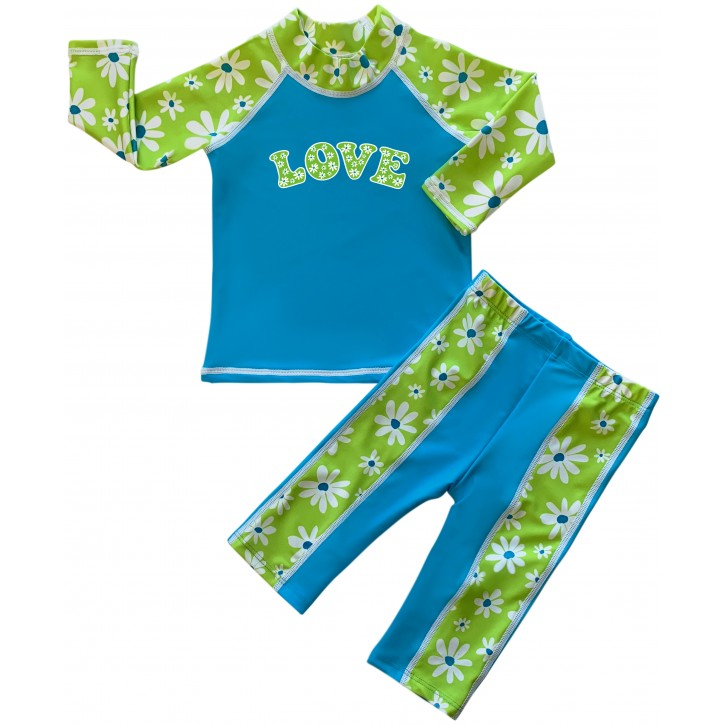 Baby Girl Rash Guard Flower Power Swimwear Set