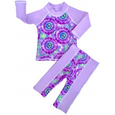 Baby Girl Rash Guard HIppie Peace Swimwear Set