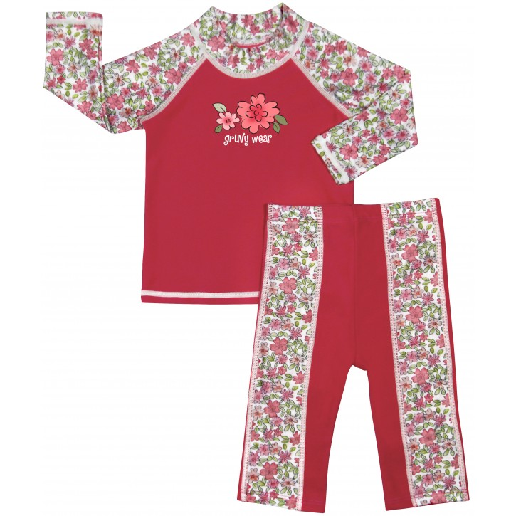 Baby Girl Rash Guard Pink Chelsea Morning Swimwear Set