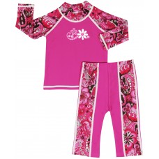 Baby Girl Rash Guard Pink Paisley Swimwear Set