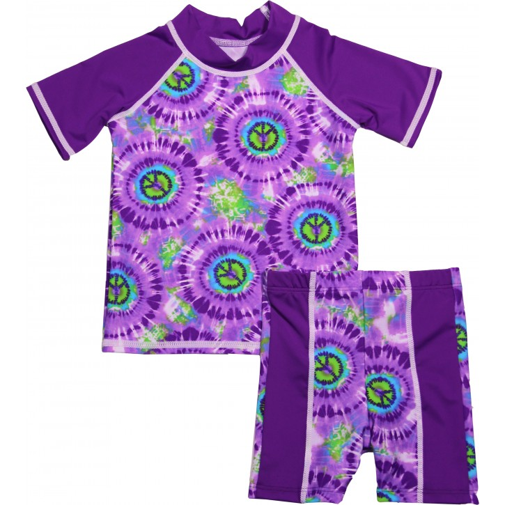 Baby Girl Rash Guard Hippy Peace Swimwear Set