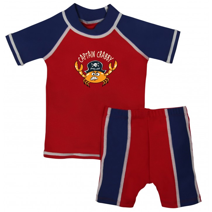 Baby Boy Rash Guard Captain Crabby Swimwear Set