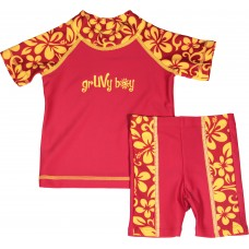 Baby Boy Rash Guard Red Aloha Swimwear Set