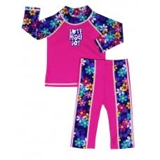 Baby Girl Rash Guard Flower Child Swimwear Set