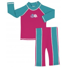 Baby Girl Rash Guard Pink N Blue Swimwear Set