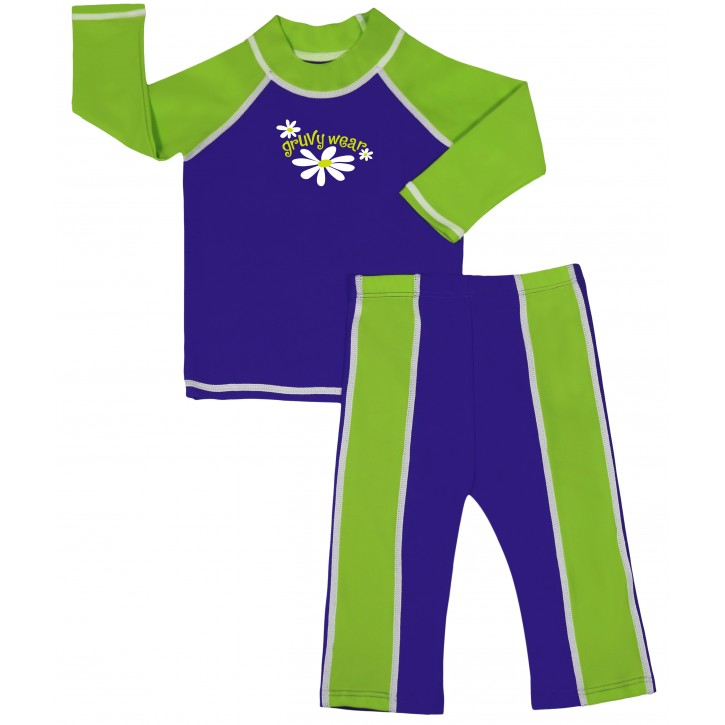 Baby Girl Rash Guard Cosmic Grape and Lime Time Swimwear Set
