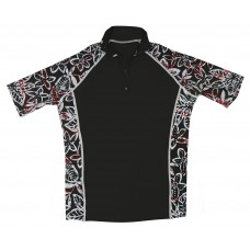 Black Floral Short Sleeve Rash Guard Zip Top