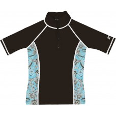 Ladies Banzai Blue Short Sleeve Rash Guard Zip Top