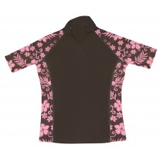 Brown Floral Short Sleeve Rash Guard Zip Top