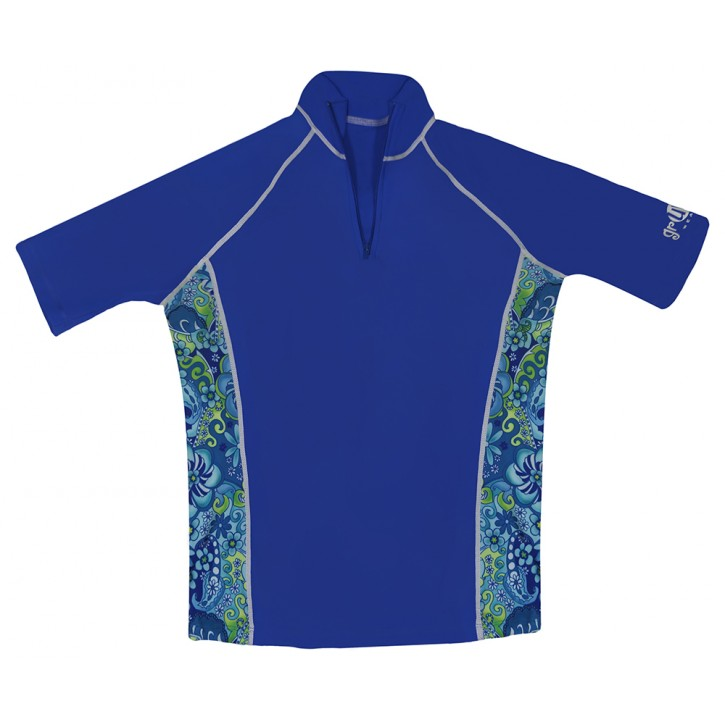 Ladies Cool Blue Short Sleeve Rash Guard Zip Top