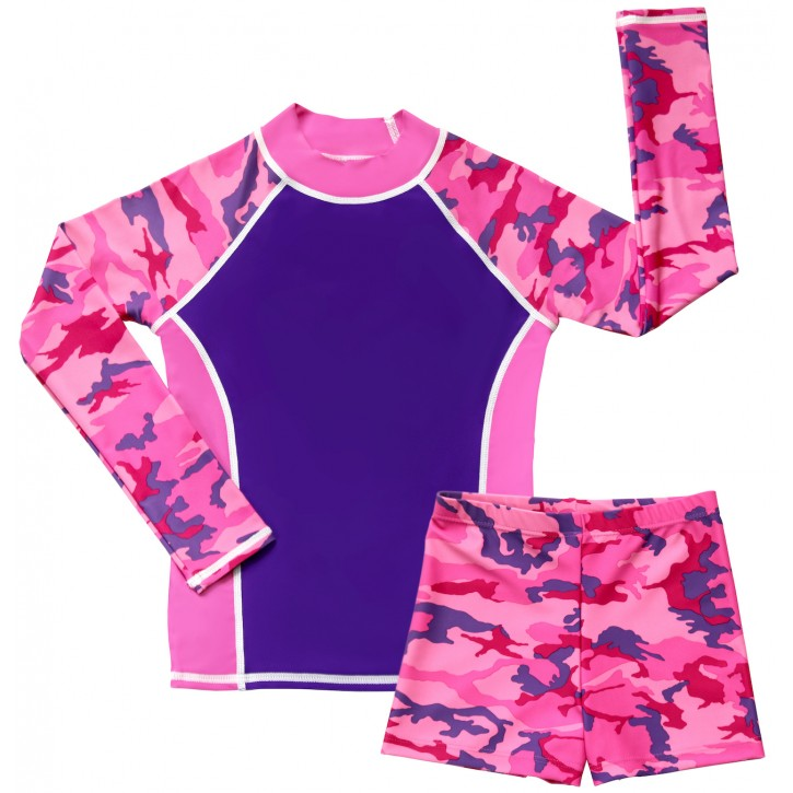 Pink Camo Swim Shirt and Short Shorts Set