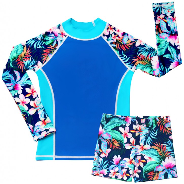 Tropical Breeze Swim Shirt and Short Shorts Set