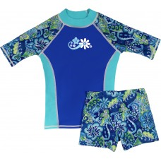 Blue Paisley Shirt and Short Shorts Set