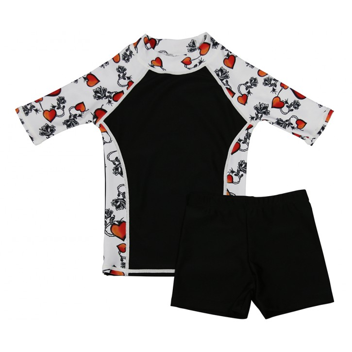 Rose Tattoo Swim Shirt and Short Shorts Set