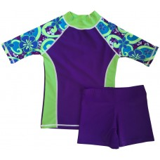 Purple Groove Swim Shirt and Short Shorts Set