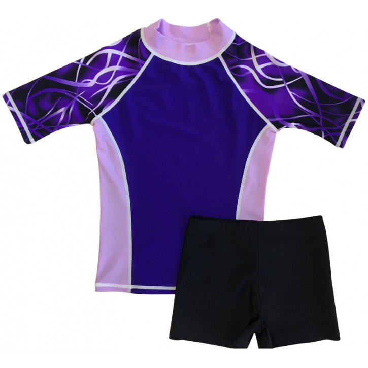 Purple Threads Shirt and Black Short Shorts Set