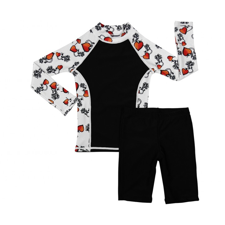 Rose Tattoo Long Sleeve Shirt and Long Shorts Set