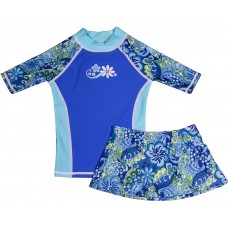 Blue Paisley Swim Shirt and Skirt Set