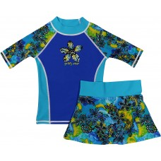 Blue Petals Swim Shirt and Skirt Set
