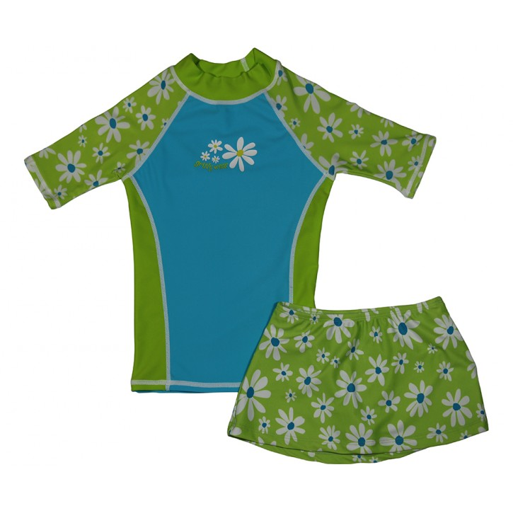 Flower Power Swim Shirt and Skirt Set