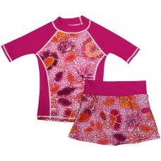 Funky Fuchsia Swim Shirt and Skirt Set