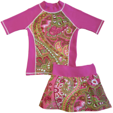 Pink Willow Swim Shirt and Skirt Set