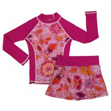 Funky Fuchsia Long Sleeve Swim Shirt and Skirt Set