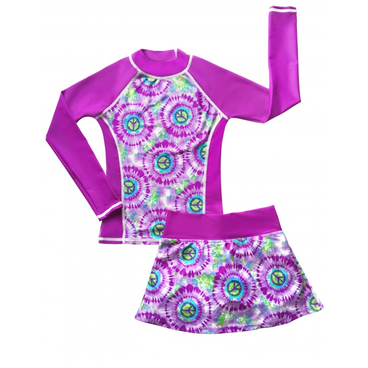 Hippy Peace Long Sleeve Swim Shirt and Skirt Set