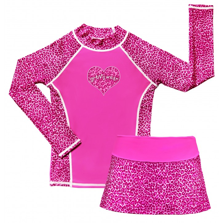 Pink Panther Long Sleeve Swim Shirt and Skirt Set