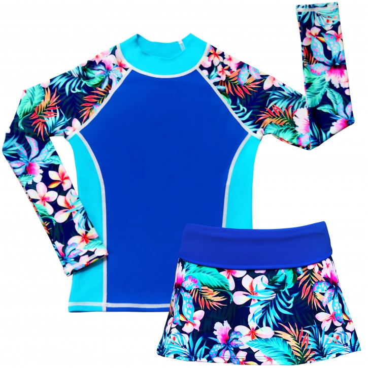 Tropical Breeze Long Sleeve Swim Shirt and Skirt Set