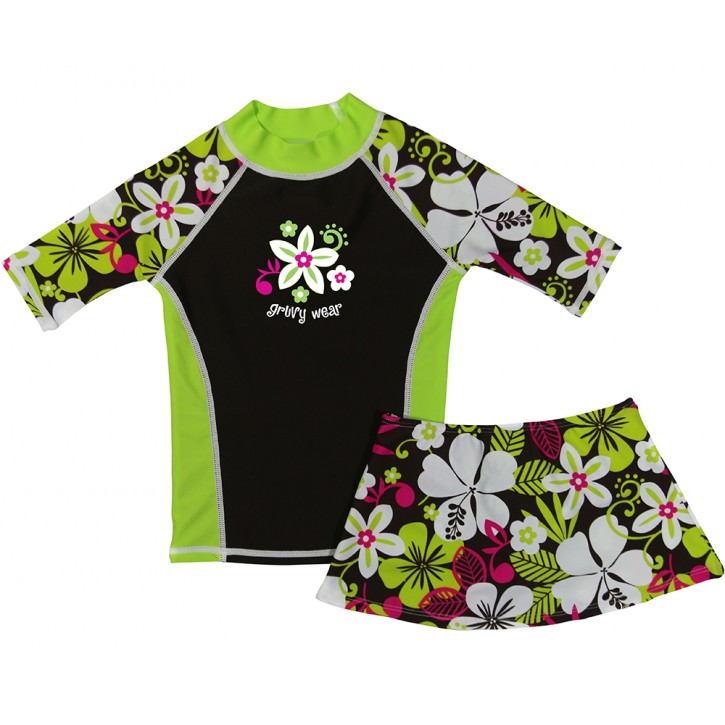 Hawaiian Breeze Swim Shirt and Skirt Set