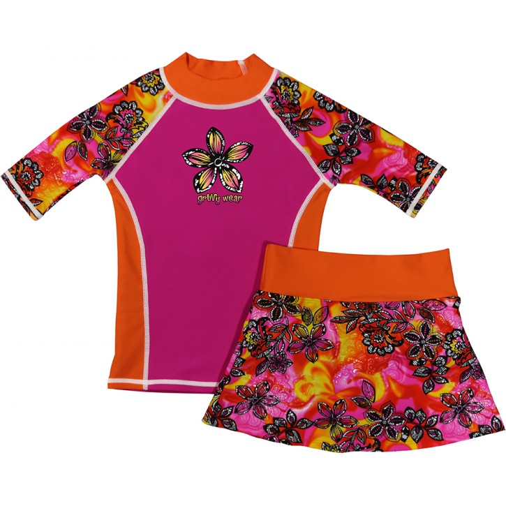 Pink Petals Swim Shirt and Skirt Set