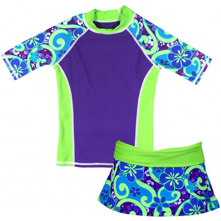 Purple Groove Swim Shirt and Skirt Set