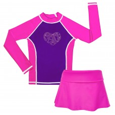 Peace of My Heart Long Sleeve Swim Shirt and Skirt Set