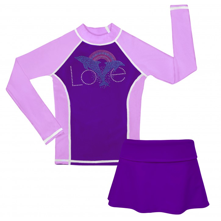 Dolphin Lover Long Sleeve Swim Shirt and Skirt Set