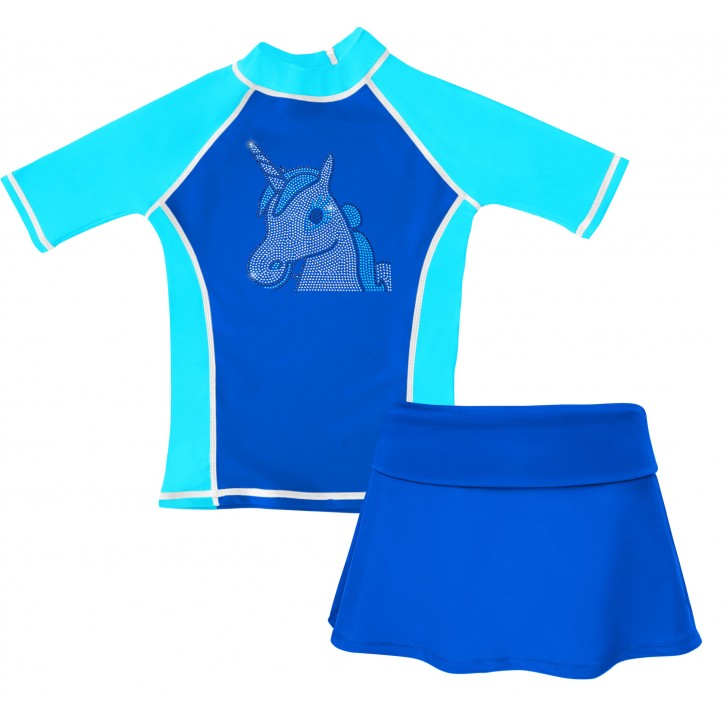 Blue Rhinestone Unicorn Swim Shirt and Skirt Set