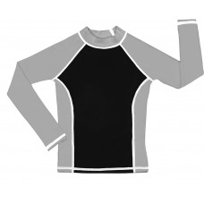 Black / Silver UV Long Sleeve Swim Shirt