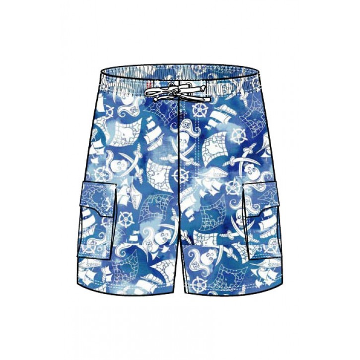 Blue Pirate Swim Trunks