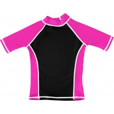 Black / Pink UV Short Sleeve Swim Shirt
