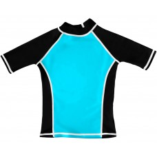 Turquoise / Black  UV Short Sleeve Swim Shirt