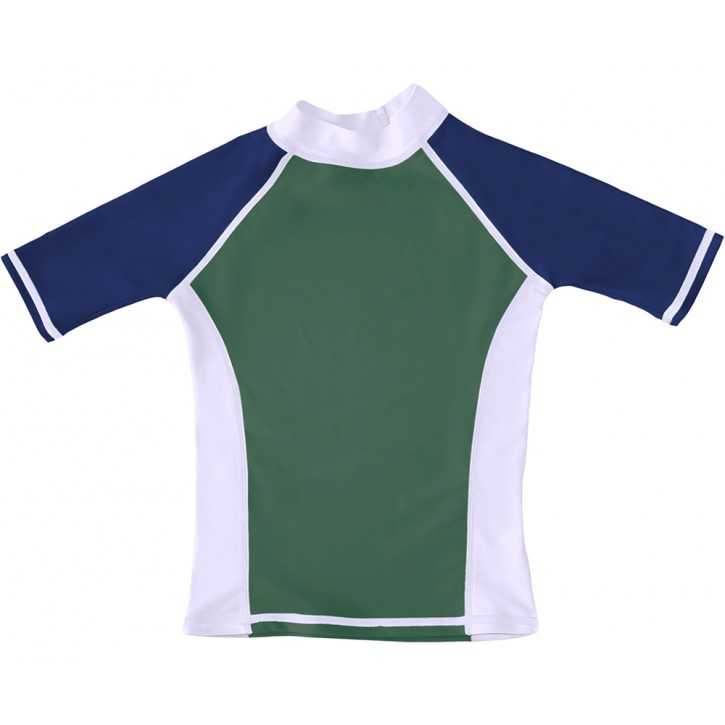 Hunter Green / White / Navy UV Short Sleeve Swim Shirt