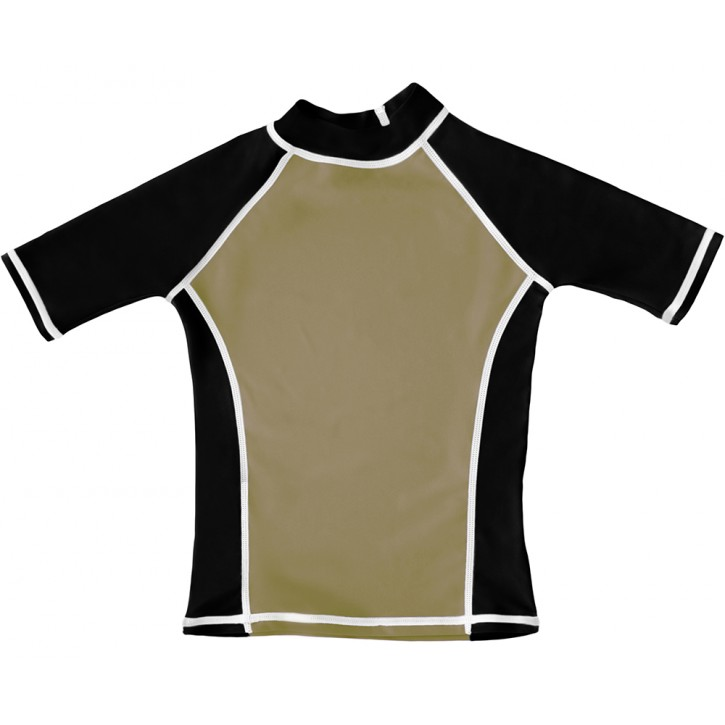 Khaki / Black UV Short Sleeve Swim Shirt