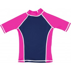 Navy / Pink UV Short Sleeve Swim Shirt