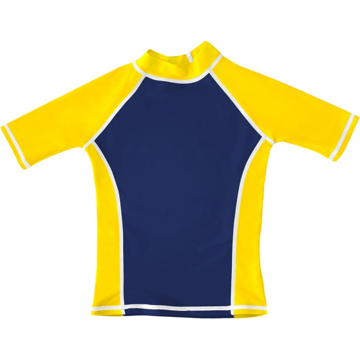 Navy / Yellow UV Short Sleeve Swim Shirt