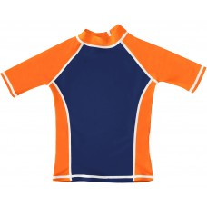 Navy / Orange UV Short Sleeve Swim Shirt