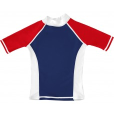 Navy / White / Red UV Short Sleeve Swim Shirt