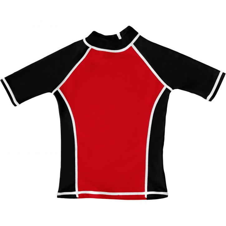 Red / Black UV Short Sleeve Swim Shirt