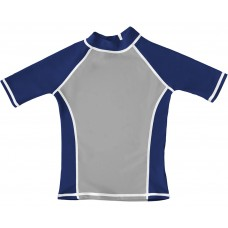 Silver / Navy UV Short Sleeve Swim Shirt